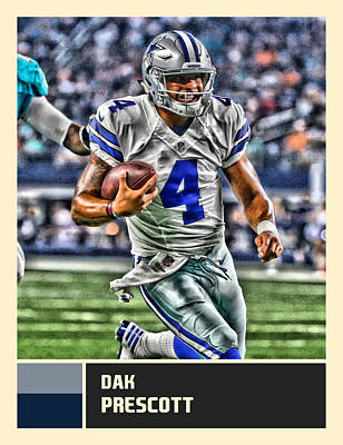 Dallas Cowboys Mixed Media - Dak Prescott Dallas Cowboys by Joe Hamilton