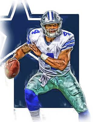 Team Mixed Media - Dak Prescott Dallas Cowboys Oil Art by Joe Hamilton