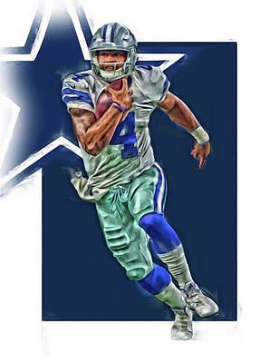 Mixed Media - Dak Prescott Dallas Cowboys Oil Art Series 1 by Joe Hamilton
