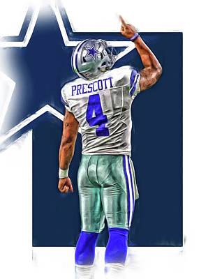 Mixed Media - Dak Prescott Dallas Cowboys Oil Art Series 2 by Joe Hamilton