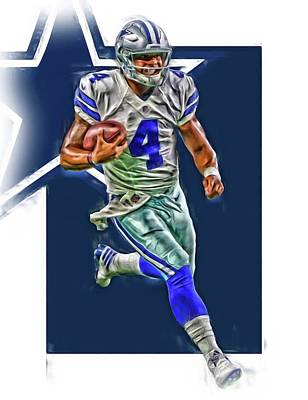 Mixed Media - Dak Prescott Dallas Cowboys Oil Art Series 3 by Joe Hamilton