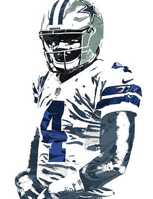 Mixed Media - Dak Prescott Dallas Cowboys Pixel Art 4 by Joe Hamilton