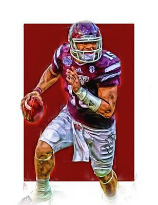 Mixed Media - Dak Prescott Mississipi State Oil Art Series 1 by Joe Hamilton