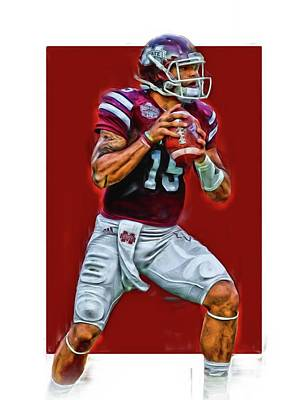 Mixed Media - Dak Prescott Mississipi State Oil Art Series 2 by Joe Hamilton