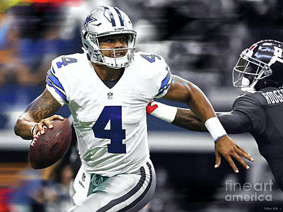 Troy Smith Mixed Media - Dak Prescott, Number 4, Quarterback, Dallas Cowboys by Thomas Pollart