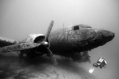 Underwater Art Photograph - Dc3 Aircraft Underwater by Rico Besserdich