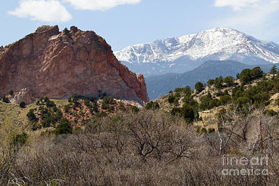 Steven Krull Royalty-Free and Rights-Managed Images - Dakota Trail at Garden of the Gods and Pikes Peak by Steven Krull