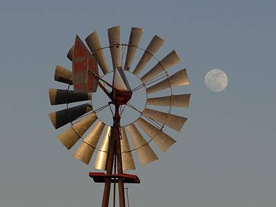 Dakota Windmill And Moon Art Print