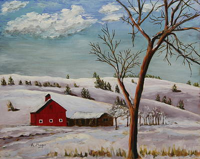 Snowscape Painting - Dakota Winter by Alan Mager