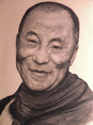 Mische Technique Painting - Dalai Lama by Adrienne Martino