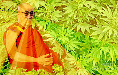 Tibetan Buddhism Painting - Dalai Lama Enlightenment Parody Art by Pd