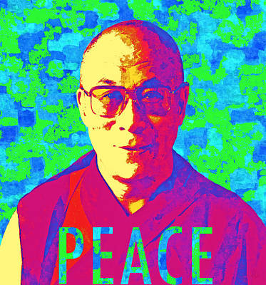 Dalai Lama - Retro Pop Art, Peace Art Print by Stacey Chiew