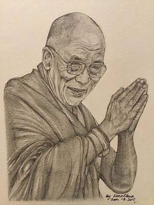 Black And White Drawing - Dalai Lama Tenzin Gyatso by Kent Chua