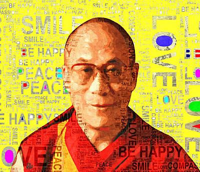 Dalai Lama - Yellow Art Print by Stacey Chiew
