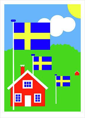 Digital Art - Dalarne Sweden by Asbjorn Lonvig