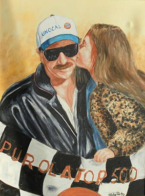 Dale Earnhardt Painting - Dale And Kiss by Gabriel Porto