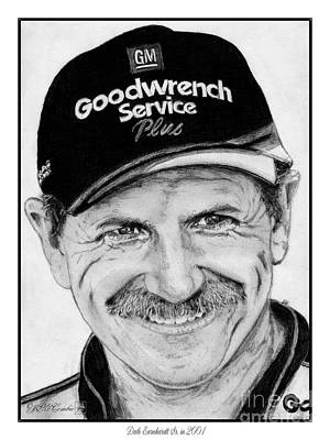 Art Print featuring the drawing Dale Earnhardt Sr In 2001 by J McCombie