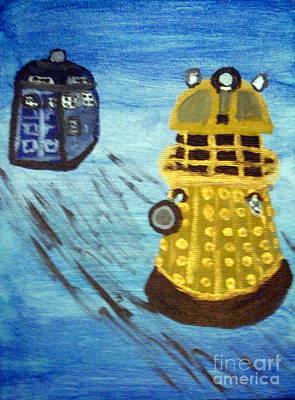 Dalek On Blue Art Print by Elizabeth Arthur