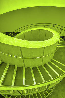 Photograph - Dali Museum Staircase In Green by Judith Barath