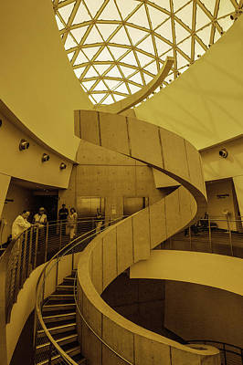 Photograph - Dali Museum Staircase In Ochre Color by Judith Barath