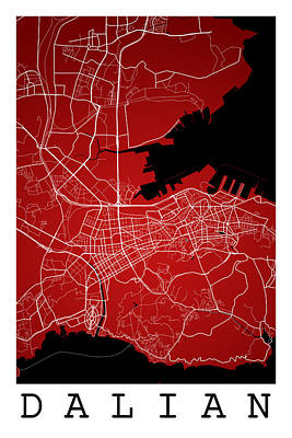 Dalian Street Map - Dalian China Road Map Art On A Red Backgro Art Print