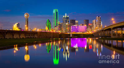 Reflective Photograph - Dallas Between The Bridges by Inge Johnsson