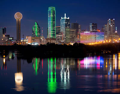 Dallas Photograph - Dallas Blue Hour Reflection by Rospotte Photography