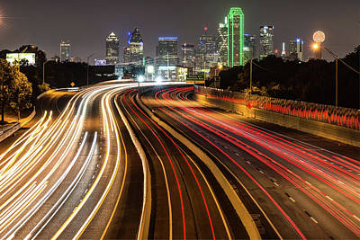 Photograph - Dallas City Skyline At Night by Gregory Ballos