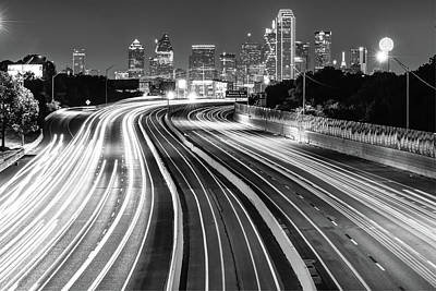Photograph - Dallas City Skyline At Night In Black And White by Gregory Ballos