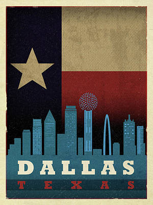 Skyline Mixed Media - Dallas City Skyline State Flag Of Texas Art Poster Series 020 by Design Turnpike