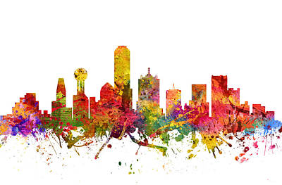 Dallas Skyline Wall Art - Painting - Dallas Cityscape 08 by Aged Pixel
