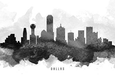 Skylines Paintings - Dallas Cityscape 11 by Aged Pixel