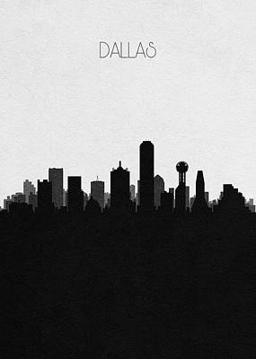 Drawing - Dallas Cityscape Art by Inspirowl Design
