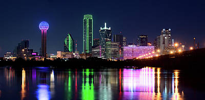 Dallas Colorful Night 52716 Art Print