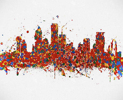 Featured Tapestry Designs - Dallas Colorful Skyline by Dan Sproul