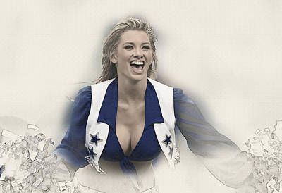 Dallas Cowboys Cheerleader Katy Marie Performs Art Print