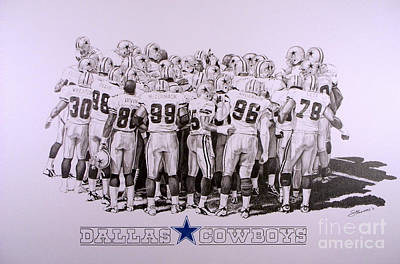 Dallas Drawing - Dallas Cowboys by Shawn Stallings