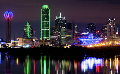 Dallas Skyline Photograph - Dallas Cowboys Star Night by Rospotte Photography