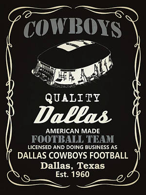 Dallas Cowboys Mixed Media - Dallas Cowboys Whiskey by Joe Hamilton