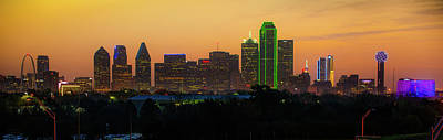 Photograph - Dallas Dawn Skyline Panorama by Gregory Ballos