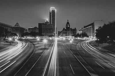 Photograph - Dallas Dealey Plaza Skyline - Texas - Black And White by Gregory Ballos