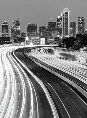 Photograph - Dallas Downtown City Skyline - Monochrome - Black And White by Gregory Ballos