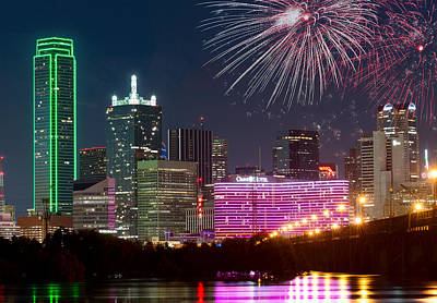 Photograph - Dallas Fireworks Skyline by Rospotte Photography