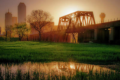 Photograph - Dallas Golden Morning Light - Trinity Skyline Trail by Gregory Ballos