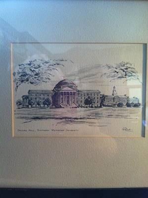Dallas Drawing - Dallas Hall Southern Methodist University by Ed Brandon