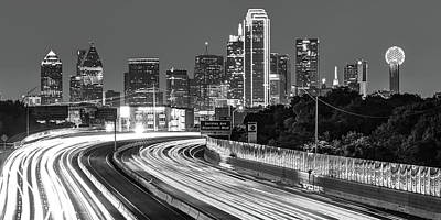 Photograph - Dallas Highway Skyline Panoramic - Black And White by Gregory Ballos
