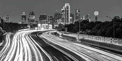 Photograph - Dallas Highway Skyline Panoramic - Monochrome by Gregory Ballos