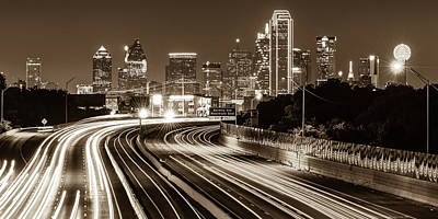 Photograph - Dallas Highway Skyline Panoramic - Sepia by Gregory Ballos