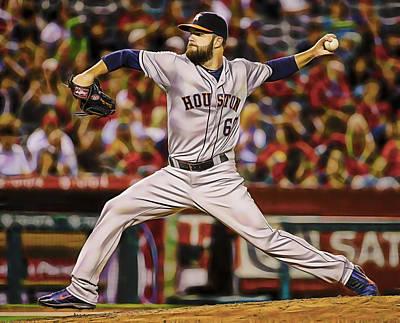 Baseball Mixed Media - Dallas Keuchel Baseball by Marvin Blaine