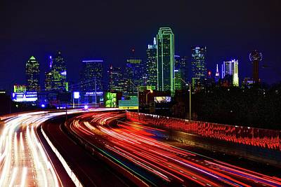 Photograph - Dallas Light Trails by John Babis